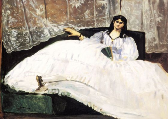 Manet, Edouard: Baudelaire's Mistress Reclining/Portrait of Jeanne Duval, 1862. Fine Art Print/Poster. Sizes: A4/A3/A2/A1 (00672)